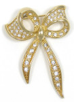 Vintage Napier Gold Bow With Rhinestones Pin