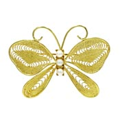 Vintage Napier Golden Filigree Faux Pearl Butterfly Pin