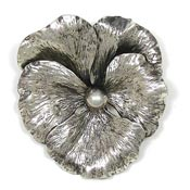 Vintage Napier Sterling Silver Pansy Pin
