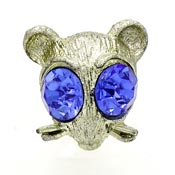 Mouse Face Pin With Large Rhinestone Eyes By Nemo