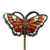 Vintage Norway Enamel Monarch Butterfly Stickpin