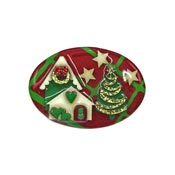 Lucinda Christmas House Pin Oval With Stars Heart Ice Skates Wreath And Tree