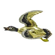 Vintage Large Flying Mallard Duck Brooch With Rhinestones