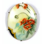 Hand Painted Porcelain Poppy Pin