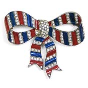 Vintage Patriotic Red Blue And Clear Rhinestone Bow Pin