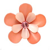 Large Peach Pink Resin Flower Pin