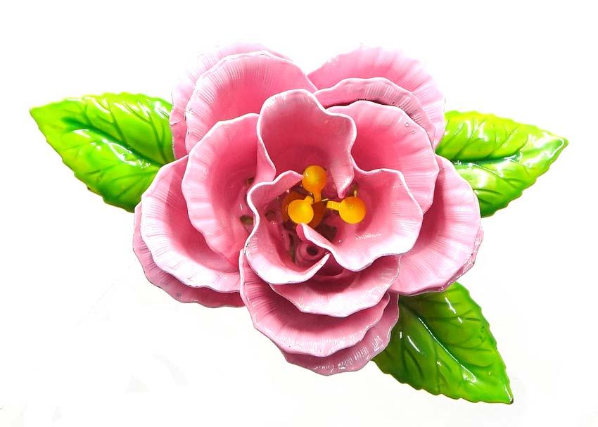 Vintage pink open rose enameled flower pin mightylinksfo