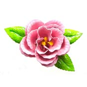 Vintage Pink Open Rose Enameled Flower Pin
