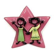 Lucinda Pink Star With Two Girls Pin