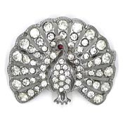 Art Deco Style Pot Metal Rhinestone Peacock Pin