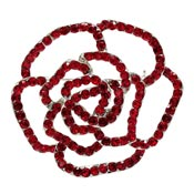 Red Rhinestone Rose Pin