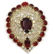 Vintage Red And Aurora Rhinestone Curlicue Teardrop Pin