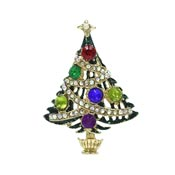 Enamel And Rhinestone Christmas Tree Pin