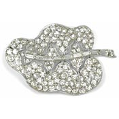 Clear Rhinestone Pot Metal Leaf Pin