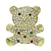 Gold Rhinestone Teddy Bear Pin
