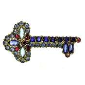 Rare Large Rhinestone Wirework Key Pin By Robert