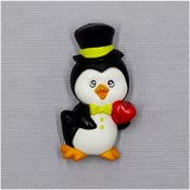 Vintage Valentines Tuxedo Penguin Pin With A Heart By Russ