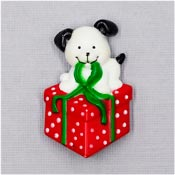 Vintage Christmas Puppy With A Present Pin By Russ