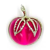 Sarah Coventry Pink Lucite Apple Or Cherry Pin Book Piece