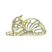 Vintage Silver And Gold Outlines Cat Brooch