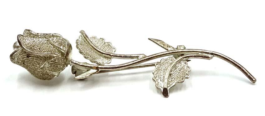 vintage sterling silver filigree 3d rose pin