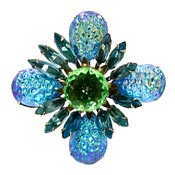 Gorgeous Teal Blue Purple Yellow Green Lava Stone Pin