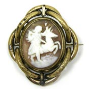 Antique Victorian Eros Cameo Swivel Pin With Hair