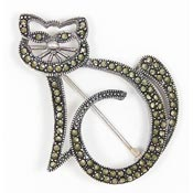 Vintage Marcasite Sterling Cat Pin