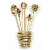 Vintage Stick Pins In A Thimble Brooch