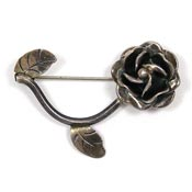 Vintage Taxco Mexico Sterling Rose Pin