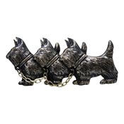 Vintage Three Scottish Terriers With Chain Sterling Pin