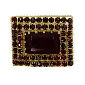 Vintage Siam Red Three Tiered Czech Rhinestone Pin