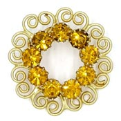 Gold Curly Que Hearts And Amber Rhinestone Circle Pin