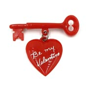 Vintage Red Be My Valentine Heart And Key Pin