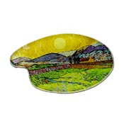 Van Gogh Wheat Field With Rising Sun Palette Shaped Pin Vintage