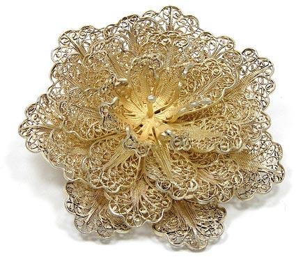 vermeil silver filigree flower pin