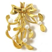 Vintage Vermeil And Pearls Mistletoe Pin