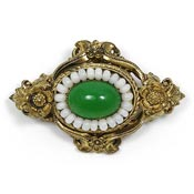 Vintage Victorian Revival Peking Style Glass Pin