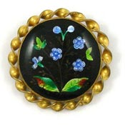 Antique Enamel Or Lacquered Forget Me Not Pin