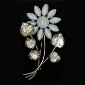 Large Molded And Moonglow Glass Flower Pin
