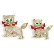 Vintage Christmas Kitty Scatter Pin Set