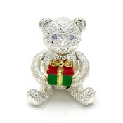 Vintage Articulated Christmas Bear Pin By Napier