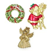 Three Santa Holly Wreath And Angel Christmas Pins JJ