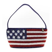 Seed Beaded American Flag Purse