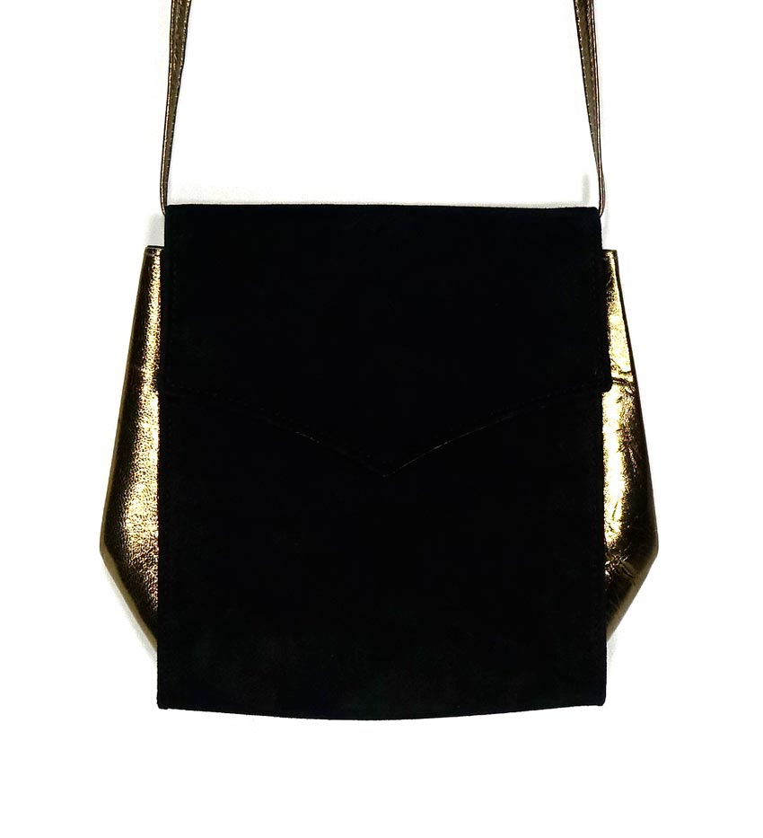 Ann Taylor Gold Leather Black Suede Purse