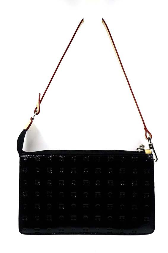cbc62eea2172 Arcadia Italian Black Patent Leather Convertible Clutch