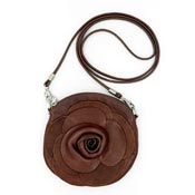 Brown Italian Leather Rose Flower Crossbody Purse