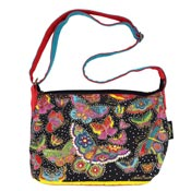 Laurel Burch Flutterby Printed Canvas Messenger Or Crossbody Bag