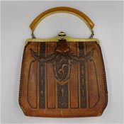 Vintage 1920's Tooled Leather Meeker Made Purse