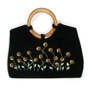 Black Velvet Purse With Floral Embroidery And Beadwork